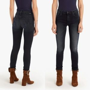 MOTHER high waisted looker jeans ankle fray dark